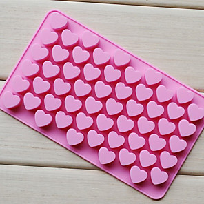 cheap Bakeware-55 Holes Non-stick Silicone Chocolate Cake Love Heart Shaped Mold Bakeware Baking Jelly Ice Heart Mould