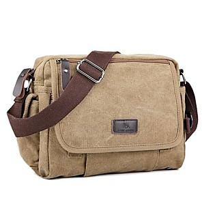 cheap Handbag & Totes-Unisex Bags Canvas Shoulder Messenger Bag Zipper for Daily Black / Khaki / Coffee