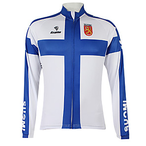cheap Cycling Jerseys-Malciklo Men's Women's Long Sleeve Cycling Jersey Winter Fleece Polyester Blue / White Finland Champion National Flag Bike Jersey Top Mountain Bike MTB Road Bike Cycling Windproof Quick Dry
