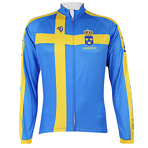 cheap Cycling Jerseys-Malciklo Men's Women's Long Sleeve Cycling Jersey Winter Fleece Polyester Blue Sweden Champion National Flag Bike Jersey Top Mountain Bike MTB Road Bike Cycling Windproof Quick Dry Waterproof Zipper