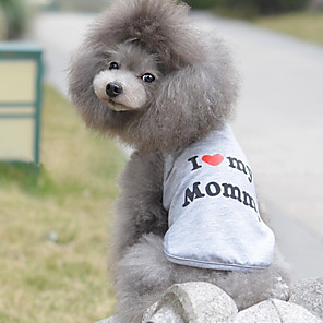 cheap Historical & Vintage Costumes-Cat Dog Shirt / T-Shirt Dog Clothes Breathable Gray Costume Cotton Heart Birthday Casual / Daily XS S M L XL