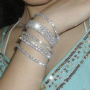 cheap Jewelry Sets-Men's Crystal Tennis Bracelet Ladies Unique Design Fashion Crystal Bracelet Jewelry Silver For Wedding Party Daily Casual Masquerade Engagement Party / Silver Plated / Imitation Diamond