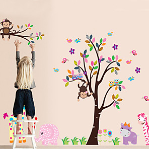 cheap Wall Stickers-Monkey With Animal Removable Kids Rooms DIY Decoration Wall Stickers