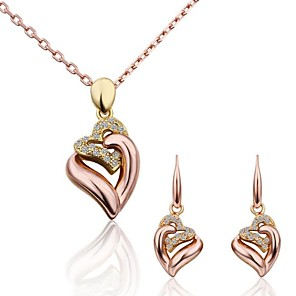 cheap Jewelry Sets-Women's Jewelry Set Love Luxury Fashion 18K Gold Plated Rose Gold Imitation Diamond Earrings Jewelry Gold For Party