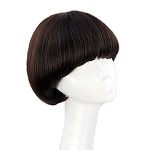 cheap Costume Wigs-Synthetic Wig Straight Straight Bob With Bangs Wig Dark Auburn Dark Wine Auburn Black Synthetic Hair 8 inch Women's Red Black Brown hairjoy