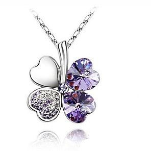 cheap Necklaces-Women's Sapphire Crystal Citrine Pendant Necklace Solitaire Clover Ladies Basic Simple Style Fashion Crystal Rhinestone Platinum Plated Purple Yellow Red Blue Pink Necklace Jewelry For Wedding Party