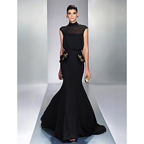 cheap Evening Dresses-Mermaid / Trumpet Elegant Black Wedding Guest Formal Evening Dress High Neck Sleeveless Court Train Chiffon with Sequin 2020