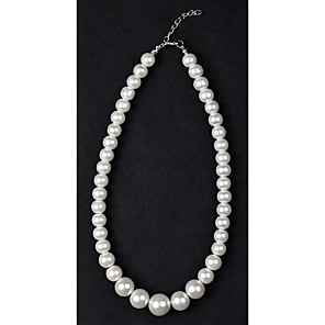 cheap Pearl Necklaces-Women's Pearl Beaded Necklace Pearl Necklace Pearl Imitation Pearl Silver / Black Ivory Necklace Jewelry For Wedding Daily Casual