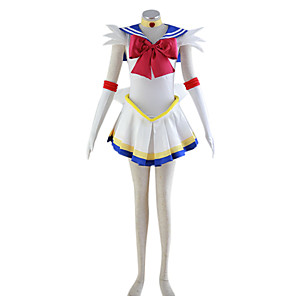 cheap Anime Costumes-Inspired by Sailor Moon Sailor Moon Anime Cosplay Costumes Japanese Cosplay Suits Patchwork Dress Headpiece Bow For Women's / Necklace / Necklace