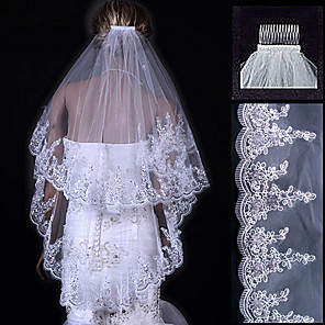 cheap Wedding Veils-Two-tier Lace Applique Edge Wedding Veil Fingertip Veils with 31.5 in (80cm) Tulle A-line, Ball Gown, Princess, Sheath / Column, Trumpet / Mermaid