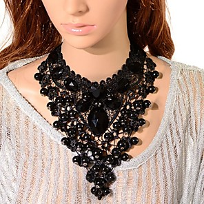 cheap Jewelry Sets-Women's Onyx Crystal Choker Necklace Pendant Necklace Bib Tower Ladies Gothic Synthetic Gemstones Resin Black Necklace Jewelry 1pc For Party Cosplay Costumes / Chain Necklace / Chain Necklace