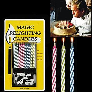 cheap Magic Tricks-10PCS Mixed-color Magic Relighting Candles Practical Joke Gadgets