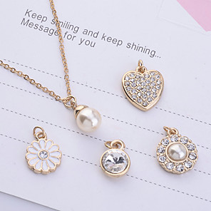 cheap Pearl Necklaces-Women's Pearl Pendant Necklace Ladies Imitation Pearl Rhinestone Gold Plated Gold Necklace Jewelry 5pcs For Party Daily Casual