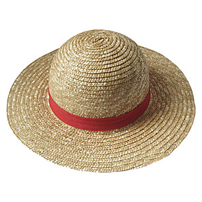 cheap Anime Costumes-Hat / Cap Inspired by One Piece Monkey D. Luffy Anime Cosplay Accessories Hat Straw Rope Men's Halloween Costumes