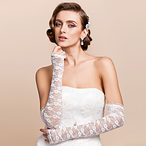 cheap Party Gloves-Lace Opera Length Glove Bridal Gloves With Embroidery