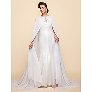 cheap Wedding Slips-Long Sleeve Capes Chiffon / Lace Wedding / Party Evening Wedding  Wraps / Hoods & Ponchos With Draping / Solid