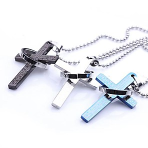 cheap Religious Jewelry-Men's Pendant Necklace Cross Dragon Ladies Stainless Steel Black Blue Silver Necklace Jewelry For Party Daily Casual Sports