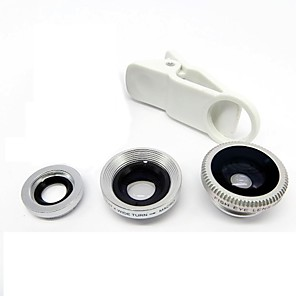 cheap Cell Phone Charms-Universal Clip Lens Wide Angle + Macro + Fisheye Lens - Silver for iPhone 8 7 Samsung Galaxy S8 S7
