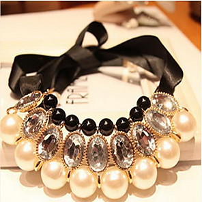 cheap Pearl Necklaces-Women's Pearl Statement Necklace Pearl Necklace Bib Ladies Bridal Festival / Holiday Chunky Pearl Resin Silk White Black Yellow Blue Rose Necklace Jewelry For Wedding Special Occasion Birthday Gift