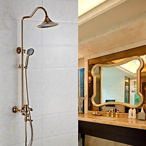 cheap Bathroom Sink Faucets-Shower System Set - Rainfall Antique Rose Gold Wall Mounted Ceramic Valve Bath Shower Mixer Taps / Brass