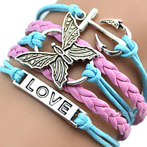 cheap Bracelets-Women's ID Bracelet Wrap Bracelet Leather Bracelet Layered Plaited Wrap woven Heart Butterfly Animal Ladies Unique Design European Fashion Inspirational Leather Bracelet Jewelry Pink / Blue For