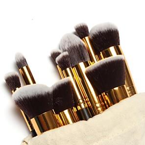 cheap Makeup Brush Sets-10pcs Professional Makeup Brushes Makeup Brush Set Gold Tube Free Draw string makeup bag - Blush Brush / Eyeshadow Brush Nylon / Nylon Brush Portable / Travel / Eco-friendly