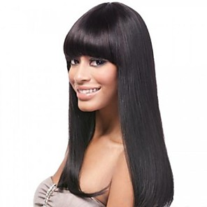 cheap Human Hair Wigs-16inch neat bang 100 indian human hair silky straight glueless front lace wig for black women