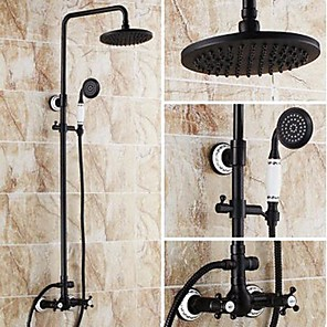 cheap Bathroom Accessory Set-High Pressure Shower Systerm Set Vintage Antique Oil-rubbed Bronze Tub And Shower Ceramic Valve Bath Shower Mixer Taps / Brass Two Handles Three Holes