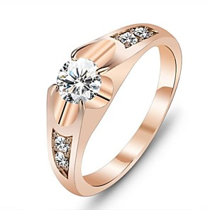 cheap Rings-Women's Statement Ring Diamond Cubic Zirconia Gold Rose Gold Cubic Zirconia Gold Plated Ladies Unique Design Wedding Party Jewelry Solitaire Round Cut Love