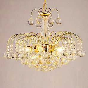"cheap Ceiling Lights-1-Light QINGMING® 38(15"") Crystal Chandelier Glass Crystal Electroplated Modern Contemporary 110-120V / 220-240V"