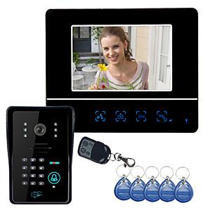 """cheap Video Door Phone Systems-7"""" Video Door Phone DoorBell Intercom System Touch Panel Door Lock RFID Keyfobs"""