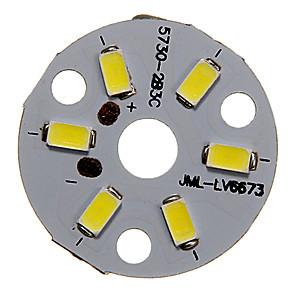 cheap Light Bulbs-ZDM 1PC 3W 300-350LM 6 x 5730 SMD LEDs Patch LED Light Source Board Cold White Light 6000-6500 K Aluminum Substrate (DC9-12V, 300mA)