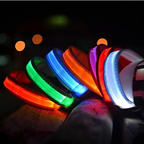 cheap Dog Collars, Harnesses & Leashes-Cat Pets Dog Collar Dog Training Collars LED Lights Electric Glow Solid Colored Nylon Rainbow Yellow