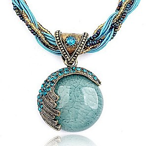 cheap Hair Jewelry-Women's Turquoise Pendant Necklace Twisted Bohemian European Fashion Boho Alloy Black Brown Green Red Blue 42+5 cm Necklace Jewelry 1pc For Party Birthday Gift Daily Casual