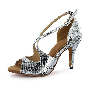 cheap Wedding Shoes-Women's Latin Shoes / Ballroom Shoes Leatherette Buckle Sandal Buckle Stiletto Heel Customizable Dance Shoes Silver / Gold / EU43