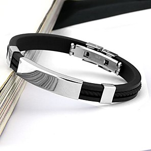 cheap Engraved Bracelets-Men's Bracelet Bangles Personalized Fashion Stainless Steel Bracelet Jewelry White / Black / Yellow For Daily Casual Sports / Silicone