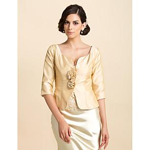 cheap Wedding Wraps-Coats / Jackets Taffeta Wedding / Party Evening / Casual Wedding  Wraps With Flower