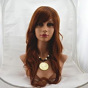 cheap Synthetic Trendy Wigs-Synthetic Wig Wavy Wavy Wig Medium Auburn Synthetic Hair 24 inch Women's Brown