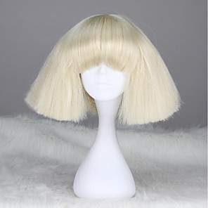 cheap Costume Wigs-Synthetic Wig Straight kinky Straight kinky straight Straight With Bangs Wig Blonde Short White Synthetic Hair 12 inch Women's With Bangs Blonde