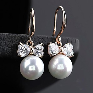 cheap Earrings-Women's White Pearl Drop Earrings Hoop Earrings Cubic Zirconia Earrings Jewelry Silver / Rose Gold / Champagne For 1pc