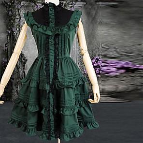 cheap Lolita Dresses-Classic Lolita Dress Women's Cotton Cosplay Costumes Black / Green Sleeveless Short Length