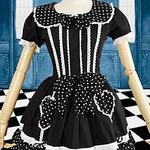 cheap Lolita Dresses-Sweet Lolita Dress Women's Dress Cosplay Black Short Sleeve Short Length Costumes