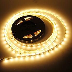 hesapli LED Şerit Işıklar-JIAWEN 5m Esnek LED Şerit Işıklar 60 LED'ler 5730 SMD 1pc Sıcak Beyaz Dekorotif Araçlar İçin Uygun Kendinden Yapışkanlı 12 V / IP44