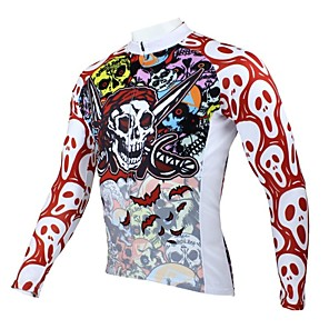 cheap Cycling Jerseys-ILPALADINO Men's Long Sleeve Cycling Jersey Winter Polyester Red and White Blue Purple Skull Bike Jersey Top Mountain Bike MTB Road Bike Cycling Thermal / Warm Breathable Quick Dry Sports Clothing