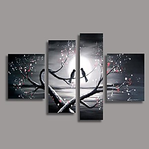 cheap Prints-Hand-Painted Oil Painting Bird in the Tree Modern Canvas With Stretched Frame Four Panels