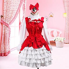 cheap Lolita Dresses-Outfits Classic Lolita Dress Lolita Accessories Patchwork Blouse Skirt Cotton Halloween Costumes / Medium Length