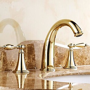 cheap Bathroom Sink Faucets-Bathroom sink faucet-hot and cold split three-hole / two-handle three-hole bathroom faucet