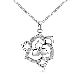 cheap Bike Frame Bags-Women's Choker Necklace Pendant Necklace Flower Ladies Simple Sterling Silver Zircon Silver Silver Necklace Jewelry For Wedding Party Thank You Gift Daily Casual