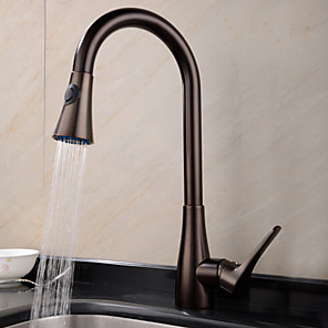 cheap Kitchen Faucets-Kitchen faucet - One Hole Oil-rubbed Bronze Pull-out / ­Pull-down / Tall / ­High Arc Deck Mounted Traditional Kitchen Taps / Brass / Single Handle One Hole