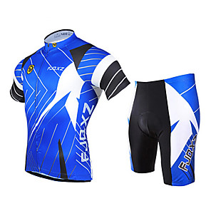 cheap Cycling Jersey & Shorts / Pants Sets-FJQXZ Men's Short Sleeve Cycling Jersey with Shorts Blue Bike Clothing Suit Breathable 3D Pad Quick Dry Ultraviolet Resistant Sports Polyester Patchwork Mountain Bike MTB Road Bike Cycling Clothing